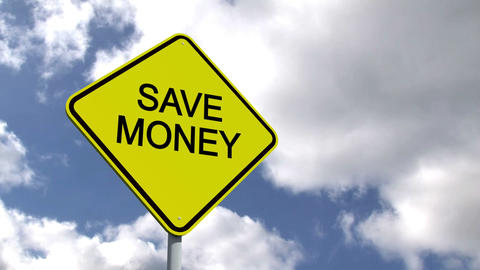 Save Money Sign Against Blue Sky stock footage