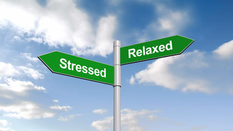 Stressed And Relaxed Signpost Against Blue Sky stock footage