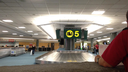 Interior YVR Airport baggage claim with luggage sp Footage