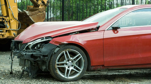 New red luxury car crashed by a drunk driver Footage