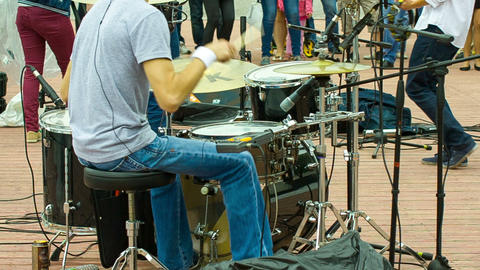 Drummer Plays At The Concert, Shooting From The Ba stock footage