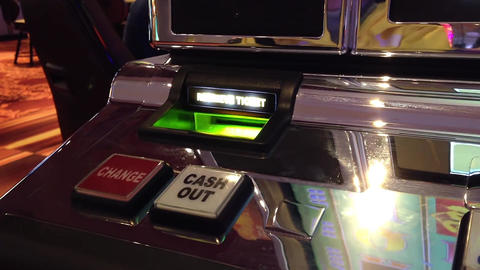 Macro Slot Machine Cash Out Button Inside Hard Roc stock footage