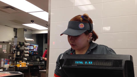 People Ordering Food Inside Burger King Store stock footage