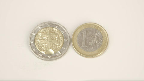 The Back Detail Of The 2 Slovenian Euro Coin And A stock footage