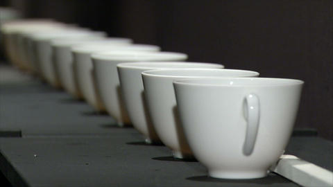 White cup in a row with a change of focus Footage