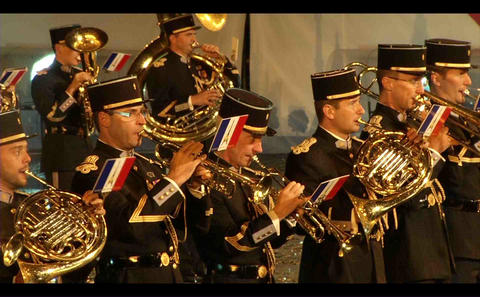 French Military Orchestra Music, Performances On R stock footage