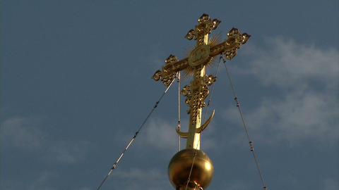 Christian Gold Cross On A Background Of Clouds And stock footage