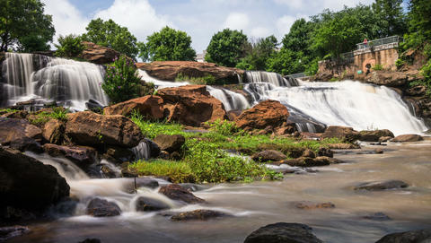 Falls Park On The Reedy River In Greenville, South stock footage