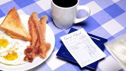 Paying Breakfast Bill stock footage