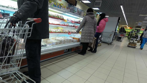 Buyers In Supermarete Selected Meat Products stock footage