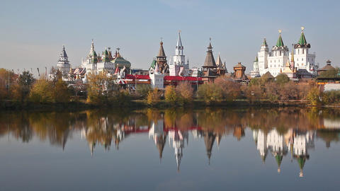 Izmaylovsky Kremlin Is Reflected In Water. Moscow stock footage