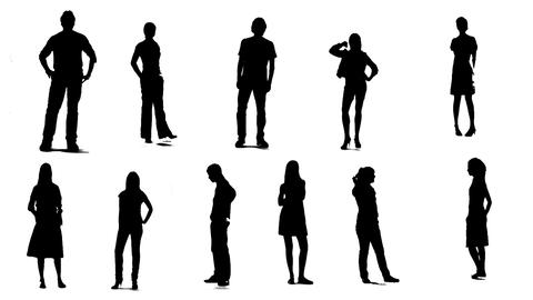Silhouettes Of Young People Who Are Stand And Wait stock footage