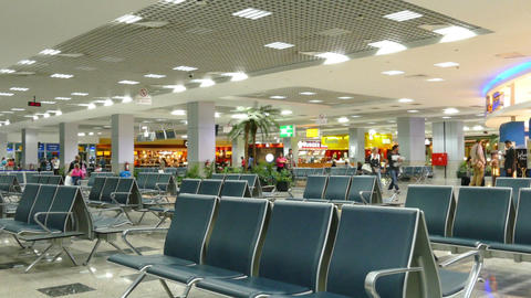 Waiting Lounge In International Airport Of Hurghad stock footage