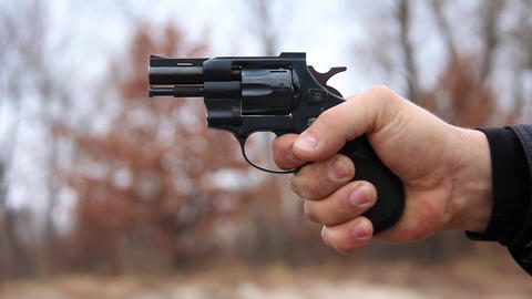 Revolver Shooting stock footage