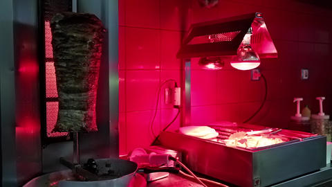 Doner Kebab In Restaurant Kitchen stock footage