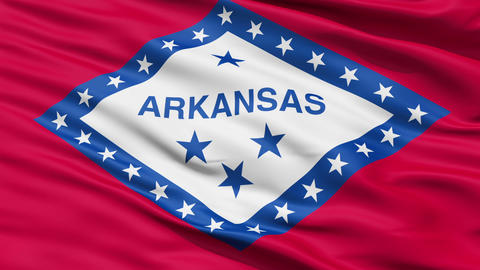 Waving Flag Of The US State Of Arkansas Animation