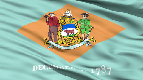 Waving Flag Of The US State Of Delaware Animation