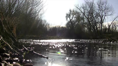 (Perfect Loop) Sunset Lighting The Water Creek Afa stock footage