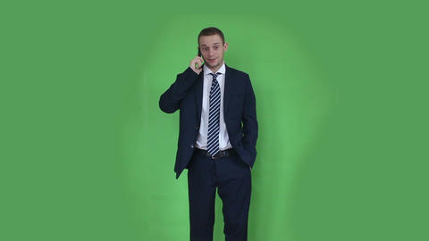 Business Man Talking At Phone Green Screen stock footage