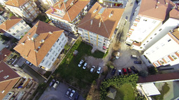 Fly over shot from helicopter. Residential housing Footage