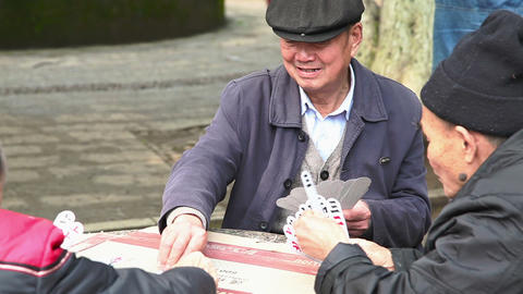 Chinese Men Plays Cards 4075 stock footage