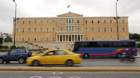 Road traffic near Parliament and Syntagma Square in Athens, Greece Footage