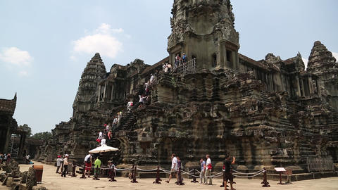 People Near Angkor Wat Central Temple In Cambodia stock footage