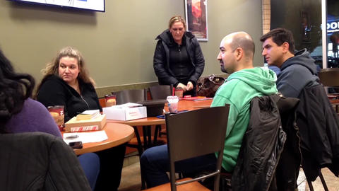 Close Up People Enjoying Meal In Coffee Shop stock footage