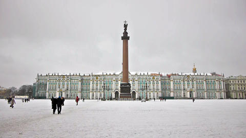 Hermitage Museum On Dvortsovaya Square, St. Peters stock footage