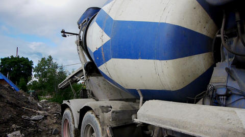 Concrete Mixer Working On Construction Site stock footage