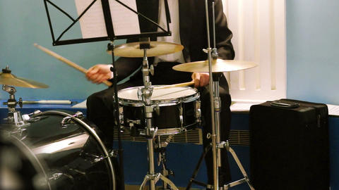 Musician Playing The Percussion Instruments stock footage