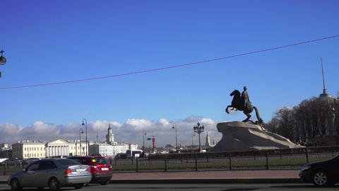 Monument to Peter the Great and Neva river quay at Footage
