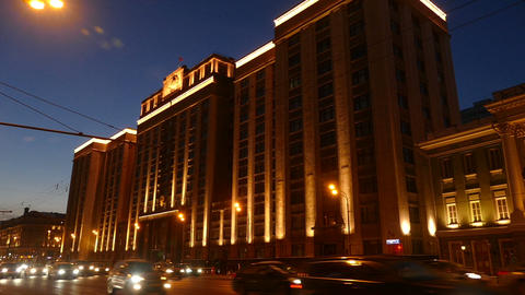 Evening City Moscow Illuminated The State Duma stock footage