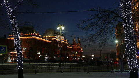 Evening Moscow With Backlight (auto, Trees, Museum stock footage