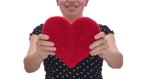 Woman Holds Out Her Heart stock footage