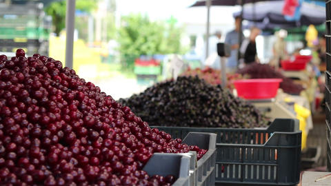 Bunch Of Cherries At Market stock footage