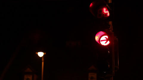 Countdown Traffic Lights At Night Footage