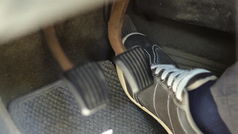 Speeding Car Pedals Close Up stock footage