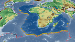 African tectonic plate. Bumps shaded Animation
