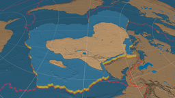 African tectonic plate. Bumps Animation
