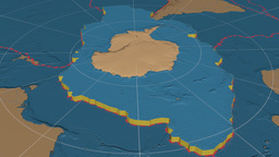 Antarctic tectonic plate. Bumps Animation