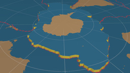 Antarctic tectonic plate. Solids Animation