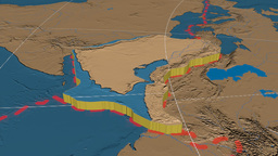 Arabian tectonic plate. Bumps Animation