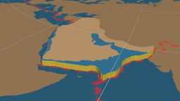 Arabian tectonic plate. Solids Animation
