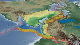 Arabian tectonic plate. Bumps shaded Animation