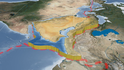 Arabian tectonic plate. Blue Marble Animation