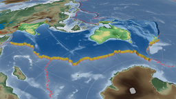 Australian tectonic plate. Bumps shaded Animation
