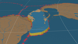 Caribbean tectonic plate. Bumps Animation