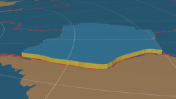 Nazca tectonic plate. Solids Animation