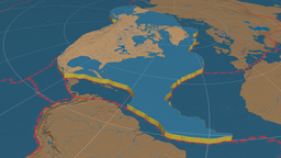 North American tectonic plate. Bumps Animation